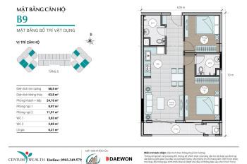 Nhượng lại CH Centum Wealth Thuduc House - Daewon, mẫu B9, 68.5m2, giá 2.2 tỷ, tầng 16, view đẹp
