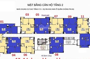 C Mai 0945 752 483, chính chủ bán gấp CC C13 Bộ Quốc Phòng căn 1006, DT: 62.47m2, giá 22 tr/m2