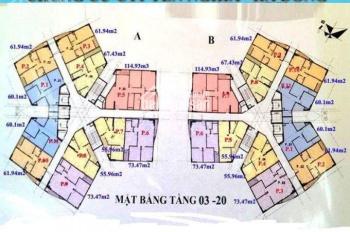 Cần bán gấp CH CT1 Yên Nghĩa, DT 62m2, 2PN, 2WC, giá 11.5tr/m2. LH 0973768387