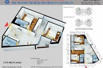 Suất ngoại giao chính chủ căn hộ 67,43m2, tầng trung, BC ĐN dự án CT1 Yên Nghĩa. LH 0944796216