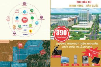 Bán đất nền MT đường 8m khu KCN Minh Hưng Hàn Quốc DT 200m2, giá 390tr/nền, 0944341212