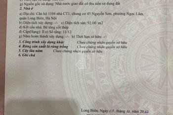 Chính chủ bán căn hộ 92m2 full đồ dự án 45 Nguyễn Sơn, Long Biên 2,5 tỷ bao phí. LH 0813.666.111