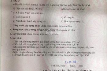Bán nhà hẻm xe tải 10m đường Tỉnh Lộ 10, p Tân Tạo, Bình Tân