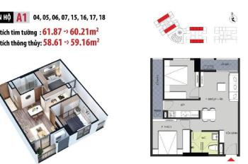 Cần bán căn 2 phòng ngủ 59m2 ban công hướng Nam chung cư Hateco Apllo Xuân Phương