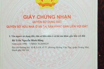 Bán đất ô tô đỗ cửa Trần Phú, Hoàng Mai, Hà Nội, cần tiền, giá sốc
