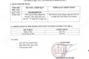 Mở bán dự án Đồng Nai Garden giá 1,2-1,5tr/m2, đã có sổ, công chứng ngay, CK 6% cho khách đầu t
