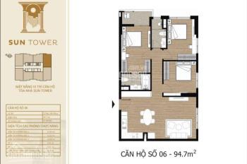 Bán suất ngoại giao căn hộ cao cấp 95m2, 3PN tầng 19 full nội thất, view Hồ Tây. Giá 4 tỷ 9