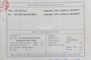 Cần bán căn hộ dịch vụ mặt tiền Huỳnh Tấn Phát, DT 131m2, 7 tầng, giá 20,5 tỷ