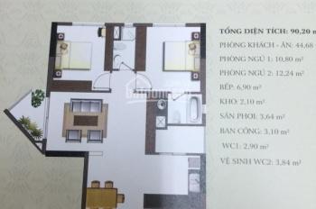 Cho thuê căn hộ An Khang Q. 2: Lầu vừa, 90m2, 2PN, ban công đông nam, cô nội thất, 14 triệu/tháng