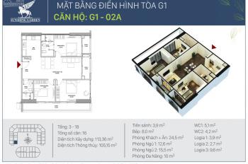 Chính chủ cần bán căn hộ 02 góc 98m2 Sunshine Garden, tầng 18, cắt lỗ 300 triệu