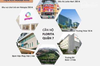 Cho thuê căn officetel Florita quận 7, căn góc view đẹp DT 73m2 thích hợp mở văn phòng công ty và ở
