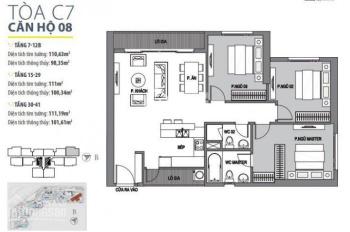Gửi bán căn hộ 110m2 tòa C6, C7 giá từ 45 triệu/m2 dự án Vinhomes D'Capitale - liên hệ: 0967732913