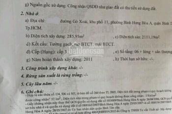 Bán mặt khách sạn mặt tiền Gò Xoài, 12x41m, Đúc 8 tấm đang cho thuê khách sạn karaoke, Giá 50 tỷ TL