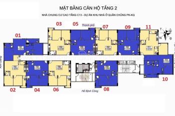 Bán cắt lỗ thu hồi vốn CC C13 Bộ Quốc Phòng, căn 910, diện tích 68m2, giá 17tr/m2. LH 0931905666