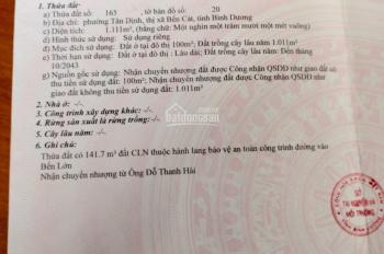 Bán đất 1111m2 gần chợ Bến Lớn, Tân Định, giá 450tr/m ngang, LH: 0908913611