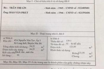 Bán nhà mặt tiền đường Tân Tạo, số 45A, ấp 3, xã Long Thới, huyện Nhà Bè