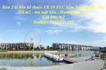 Bán 2 lô đất liền kề FLC Sầm Sơn, thuộc LK 19, mặt đường Thanh Niên 47m, vị trí đẹp nhất dự án FLC
