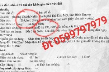 Bán nhà 1 lầu mặt tiền CMT8, Chánh Nghĩa, Thủ Dầu Một, gần rạp hát Bình Minh. DT 205,6m2