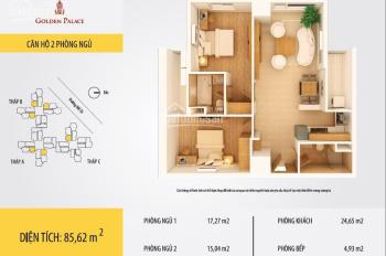 Cần bán chung cư Golden Palace, Mễ Trì, DT 85,6m2, 2PN, 2WC, 32tr/m2