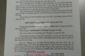 Bán nhà mặt tiền số 166, đường số 2, P16, Q. GV DT: 4,3x14.5m - 64,5m2, sổ hồng 46m2, giá 6,25 tỷ