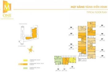 Bán căn hộ cao cấp M - One Gia Định 2PN, 2WC diện tích 69.3m2, hướng Đông Bắc, giá 3 tỷ