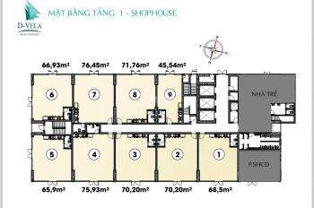 Cho thuê shophouse D-Vela - 1177 Huỳnh Tấn Phát, 76m2, 20tr/tháng. LH 0902.787.143 Ms Tâm