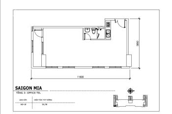 Căn 55,78m2 officetel tầng 4 trải dài 11.6m mặt tiền 9A với 4 ô cửa, tiện kinh doanh, LH 0938234510
