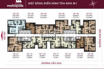Chủ nhà bán gấp CC Vinhomes Metropolis, 29 Liễu Giai, căn 11A, tòa M1, 71.9m2. LH: 090.454.9693
