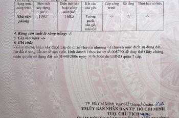 Bán nhà mặt tiền đường Huỳnh Tấn Phát, Q.7, DT 109,7m2, giá bán: 13.5 tỷ. LH 0989054750