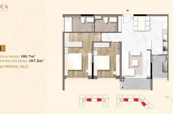 Cần bán căn hộ Sarica 2 phòng ngủ - khu đô thị Sala diện tích 107m2 view Bitexco. LH 0973317779