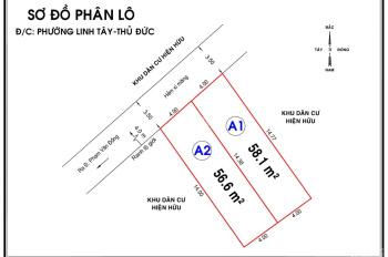 Đất hẻm xe hơi giá rẻ Linh Tây, Thủ Đức, 58m2, LH 0905.075.666