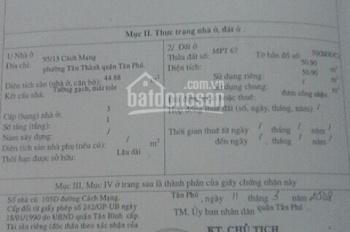 Tôi chính chủ Cần bán nhà 2 mặt tiền hẻm 6m  đường 95/15 Cách Mạng,P. Tân Thành, Q. Tân Phú.