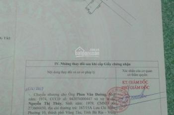 Chính chủ cần bán nhanh lô đất hẻm 167 Lưu Chí Hiếu, TP. Vũng Tàu. SHR