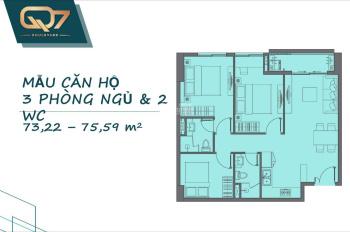 Căn 3PN 75m2 quận 7 liền kề Phú Mỹ Hưng, nhận nhà, 2020, chỉ 3,1 tỷ trả góp. LH 0938946800