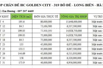 10 LÔ SHOP SỔ ĐỎ VĨNH VIỄN CUỐI CÙNG DỰ ÁN HC GOLDEN CITY - 319 BỒ ĐỀ - LIÊN HỆ: 097 207 4469
