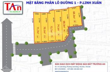 Bán đất đường Số 1, phường Linh Xuân, Quận Thủ Đức, dt: 72m2, giá 39tr/m2