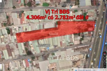 Trí BĐS đất 4.300m2 có 2.782m2 đất ở, mặt tiền Quốc Lộ 1A, gần trạm thu phí An Sương 100m