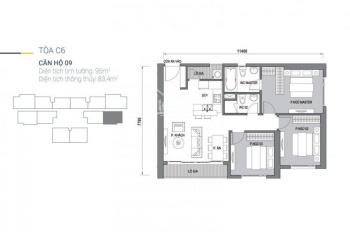 Vinhomes D'Capitale: Bán căn 3 phòng ngủ, ban công Đông Nam, view hồ điều hoà toà C6, C7, 4,4 tỷ