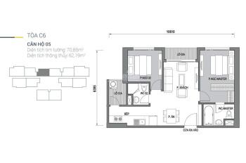 Bán căn 2 phòng ngủ toà C6, C7 giá 3 tỷ, 70 - 77m2 thiết kế 2 phòng ngủ dự án Vinhomes D'capitale