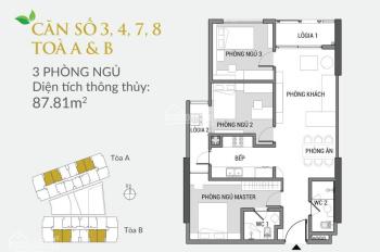 Chính chủ bán căn hộ 87,81m2, 03 phòng ngủ, ban công hướng Tây Bắc, dự án Green Pearl: 0916121215