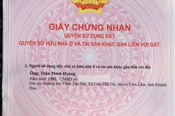 Duy nhất lô đất DT 600m2, ngay MT Đinh Tiên Hoàng, Cam Lâm. Sổ riêng CC, giá 15 tỷ (thương lượng)