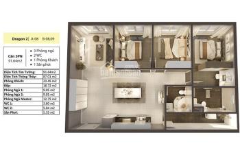 Kẹt tiền nên sang lại căn hộ 91m2 Dragon 2 - Tầng 24 view Đông Nam thoáng - chênh lệch khá tốt