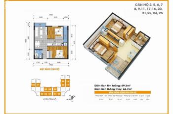 Bán căn hộ 65,7m2 đã có tủ bếp, tòa 18T, giá 1,1 tỷ thiết kế phòng đẹp, 2PN 1WC, có khu bếp riêng