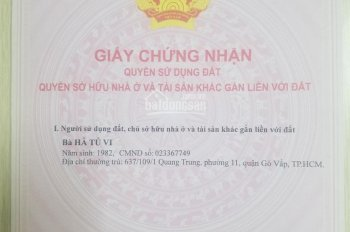 Bán đất hẻm 637 Quang Trung (hẻm Coop Mart Gò Vấp). Hoa hồng môi giới 1%.