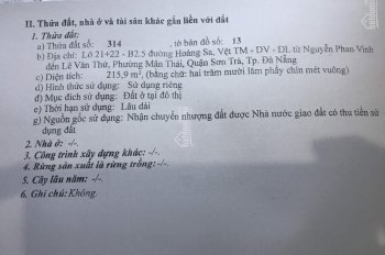 Chính chủ cần bán lô đất biển Hoàng Sa, Đà Nẵng