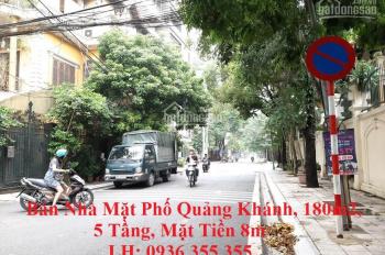 Bán nhà mặt phố Quảng Khánh, Tây Hồ, 180m2, mặt tiền 7m, 5 tầng, giá rẻ