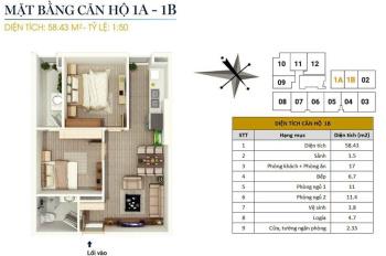 Bán căn hộ 58m2, nội thất cơ bản, giá 1,3 tỷ tại CC FLC Star Tower 418 Quang Trung. LH 0946543583