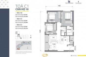 Bán gấp căn Trần Duy Hưng, toà C1, căn góc giá 38 tr/m2, 3 phòng ngủ