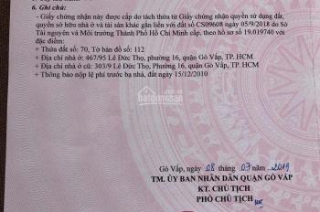 Bán gấp lô đất 4x15m nở hậu 4.5m hẻm 7m thông ra hẻm 350 Nguyễn Văn Lượng, thương lượng chính chủ