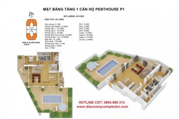 Bán suất NG penthouse duplex vip nhất HN, 50tr/m2, sân vườn bể bơi 315 - 441m2 CC Discovery Complex